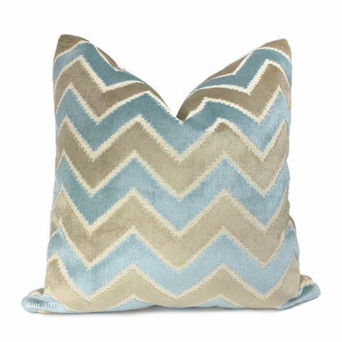 Malibu Robins Egg Blue & Taupe Beige Velvet Chevron Pillow Cover - Aloriam