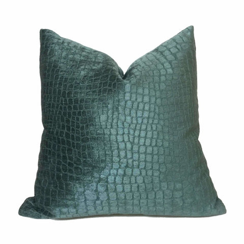 Mallard Green Alligator Velvet Pillow