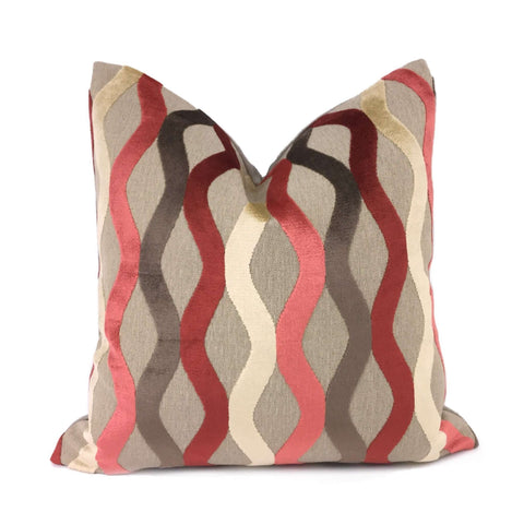 Marion Coral Rust Cream Beige Velvet Wave Stripes Pillow Cover