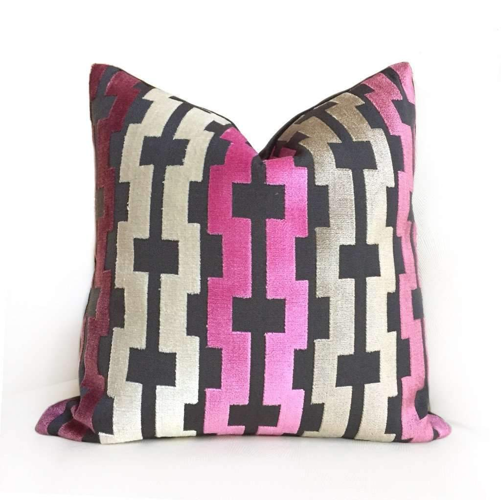 Pink Cream Taupe Gray Modern Velvet Geometric Stripe Pillow Cover by Aloriam