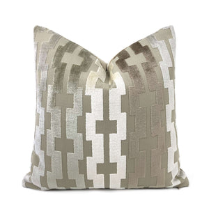 Marlow Taupe Brown Cream Geometric Velvet Stripe Pillow Cover