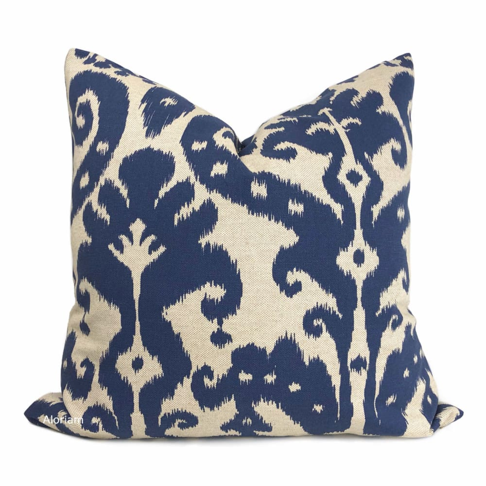 Marrakesh Ikat Ethnic Pattern Blue Beige Pillow Cover (Made from Lacefield Designs fabric) - Aloriam