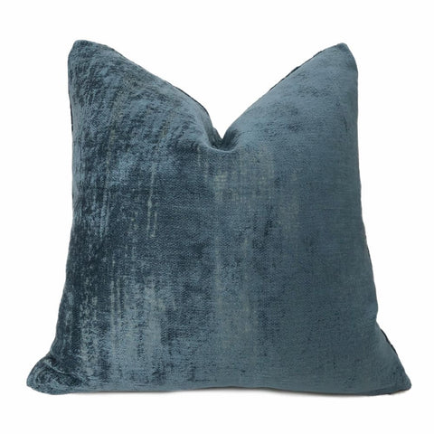 Marsden Two Tone Blue Distressed Chenille Texture Pillow Cover - Aloriam