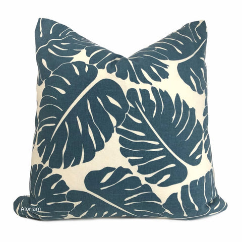 Martinique Dark Blue Modern Palm Leaf Print Pillow Cover - Aloriam