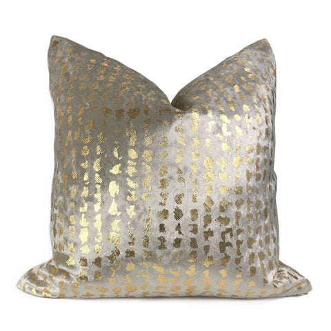 Matteo Champagne & Gold Metallic Leopard Spot Pillow Cover - Aloriam