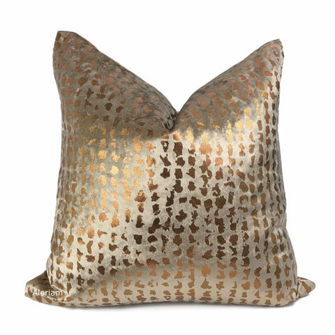 Matteo Taupe Brown & Copper Metallic Leopard Spot Pillow Cover - Aloriam