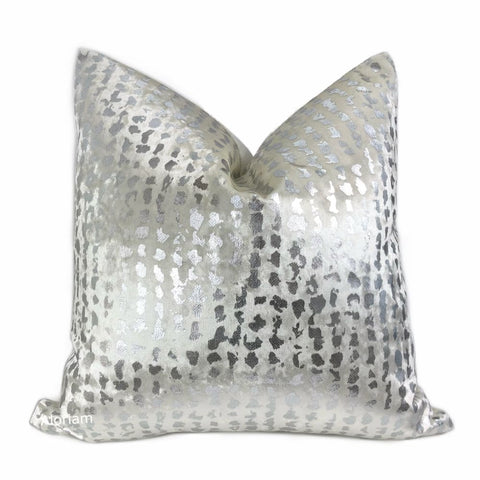 Matteo White & Silver Metallic Leopard Spot Pillow Cover - Aloriam