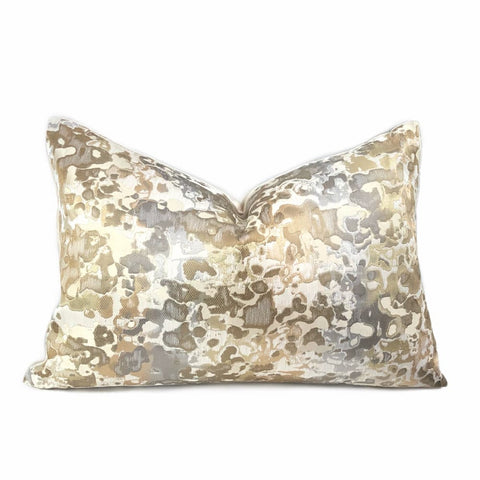 Maverick Cream Taupe Gold Silk Linen Abstract Pillow Cover - Aloriam