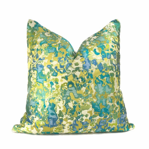 Maverick Turquoise Blue Chartreuse Silk Linen Abstract Pillow Cover - Aloriam