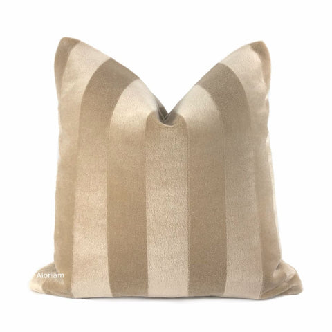 Mayfair Sand Beige Mohair Velvet Stripe Pillow Cover (Kravet Couture fabric) - Aloriam