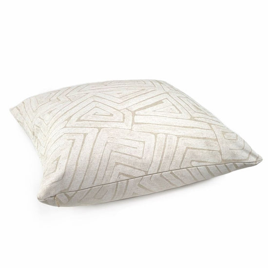 Maze Gesso White Beige Abstract Pillow Cover Made From Lacefield Desi Aloriam