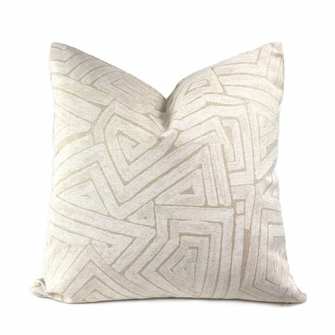 Maze Gesso White Beige Abstract Pillow Cover (Made from Lacefield Designs fabric) - Aloriam