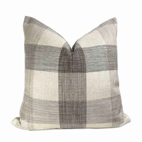 McKinley Cream Beige Brown Buffalo Plaid Pillow Cover - Aloriam