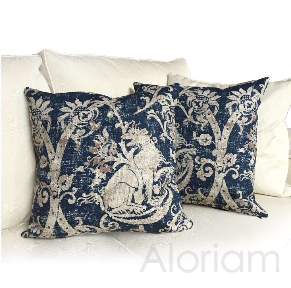 Medieval Gryphon Heraldry Mythological Print  Pillow Cushion Cover