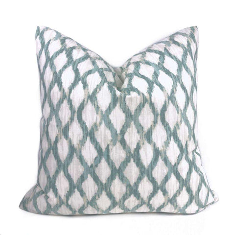 Meera Aqua Seaglass Green White Ikat Trellis Pillow Cover