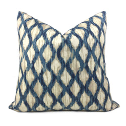 Meera Blue Beige Ikat Trellis Cotton Print Pillow Cover Cushion Pillow Case Euro Sham 16x16 18x18 20x20 22x22 24x24 26x26 28x28 Lumbar Pillow 12x18 12x20 12x24 14x20 16x26 by Aloriam