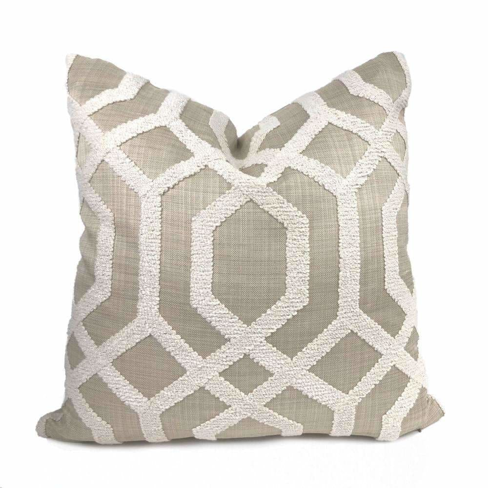 Merritt Cream & Tan Boucle Embroidered Geometric Lattice Pillow Cover - Aloriam