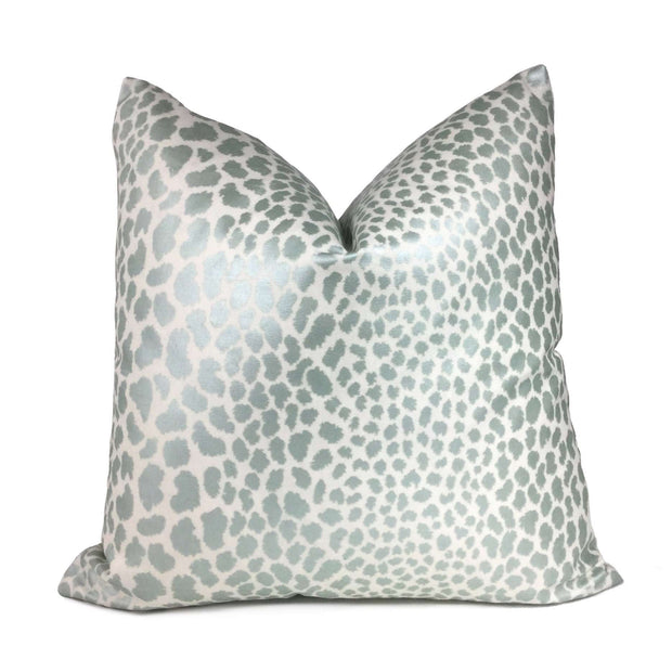 Metallic Aqua Blue-Green Leopard Spots Cotton Print Pillow Cover