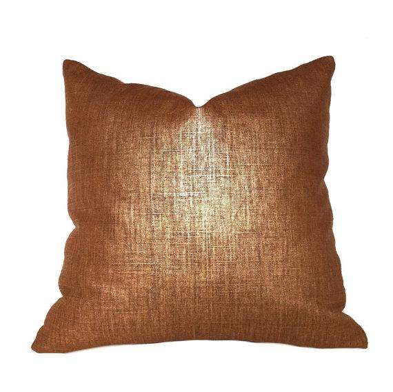 Metallic Copper Penny Glazed Linen Pillow Cover