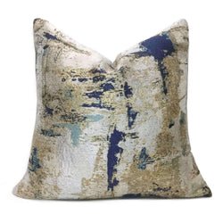 Metallic Gold Blue Gray Quartz Texture Pillow Cover