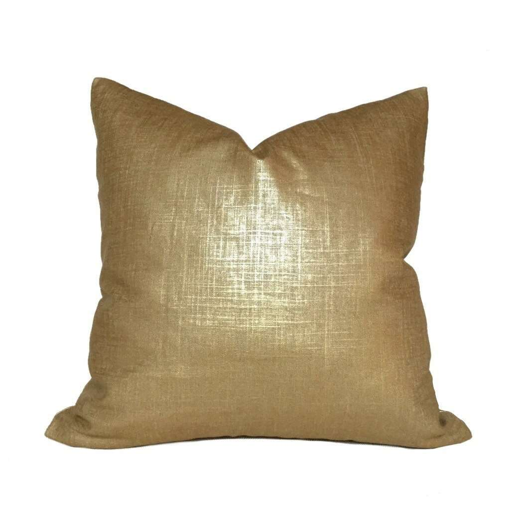 Metallic Gold Glazed Linen Pillow Cover