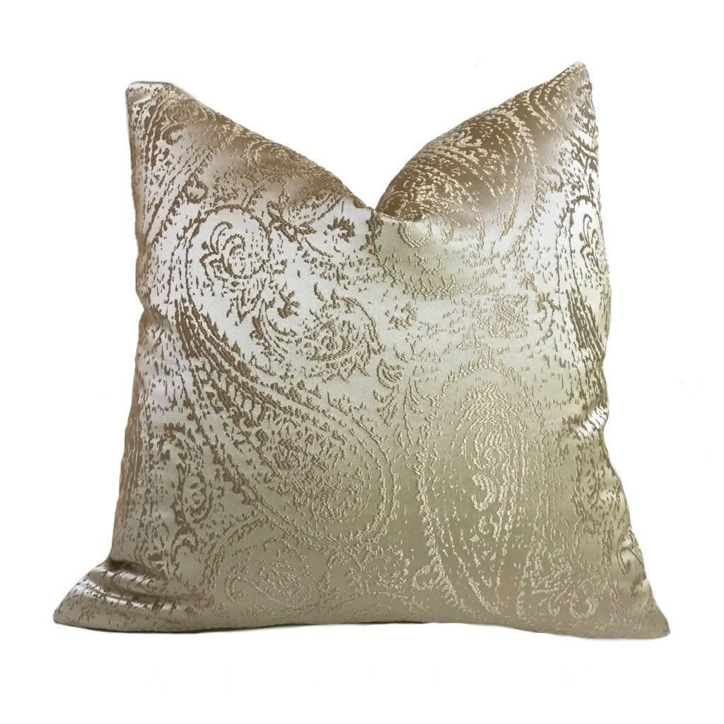 Metallic Gold Paisley Texture Pattern Pillow Cover Cushion Pillow Case Euro Sham 16x16 18x18 20x20 22x22 24x24 26x26 28x28 Lumbar Pillow 12x18 12x20 12x24 14x20 16x26 by Aloriam