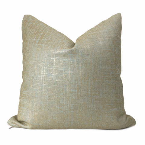 Metallic Gold Seaglass Green Glazed Linen Pillow Cover - Aloriam
