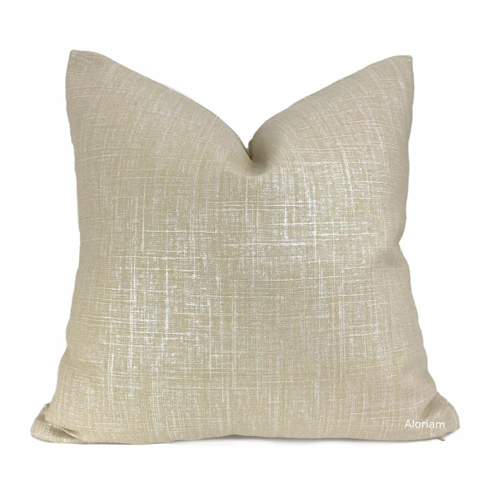 Metallic Pearl Glazed Beige Linen Pillow Cover - Aloriam