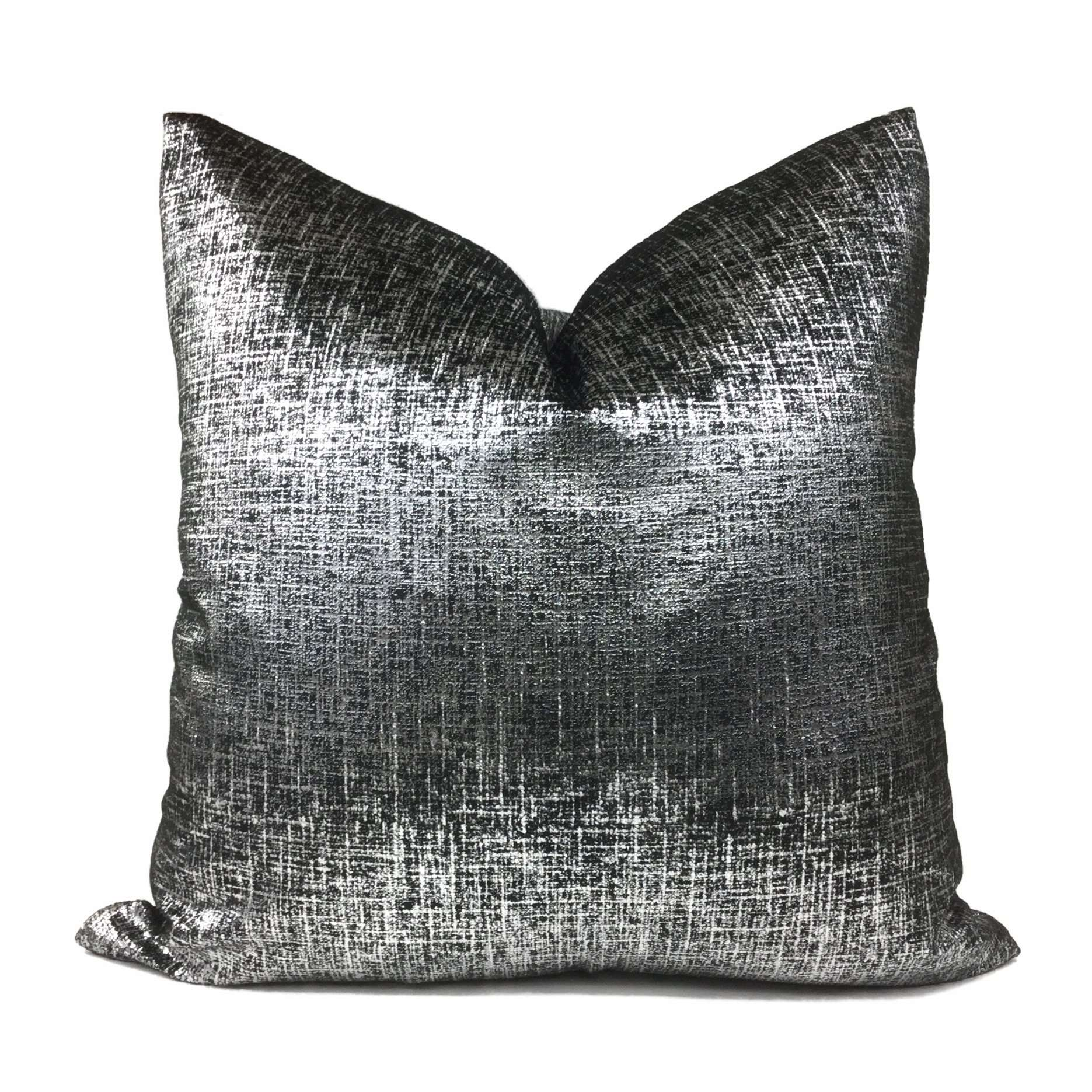 Metallic Silver Black Velveteen Pillow Cover
