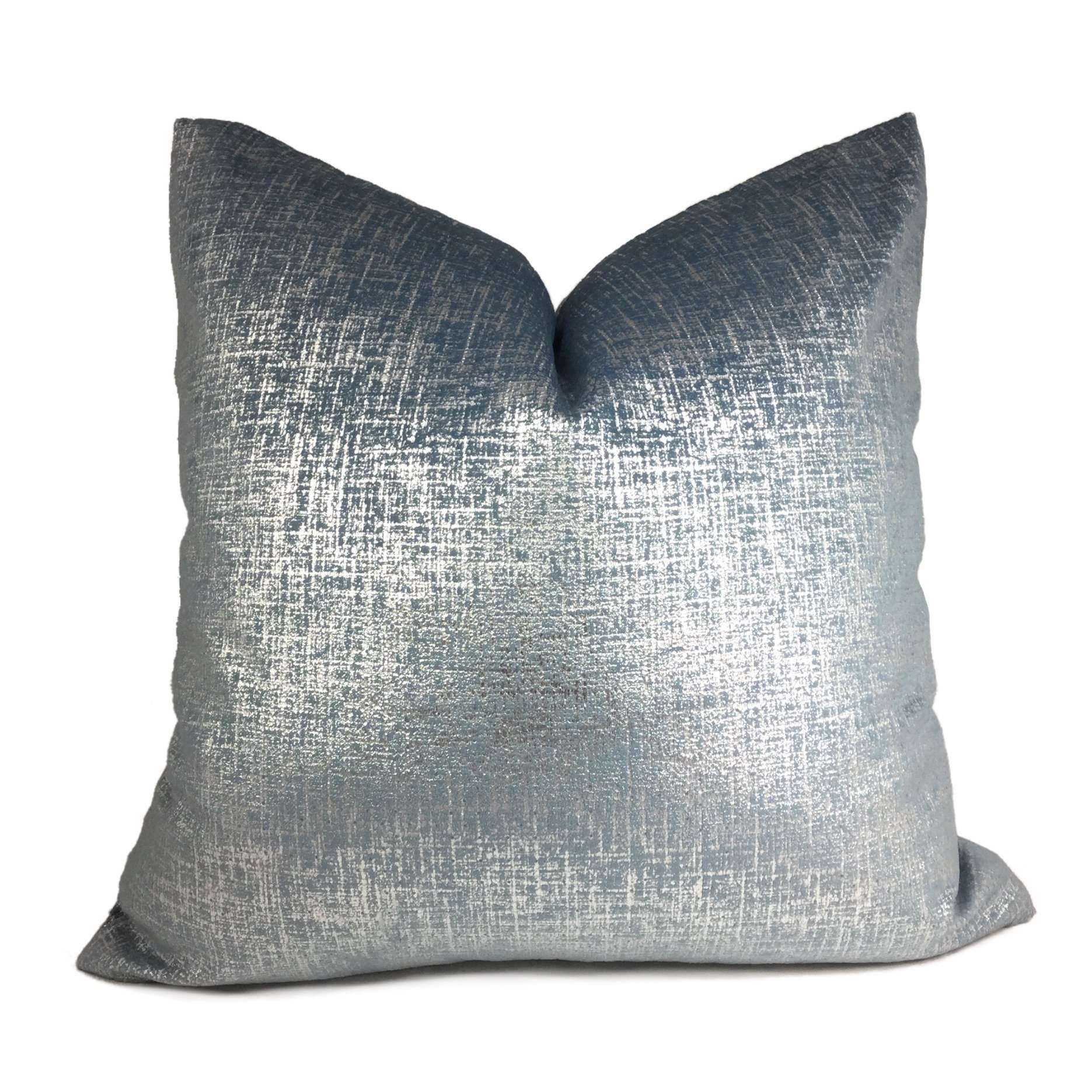 Metallic Silver Blue Velveteen Pillow Cover