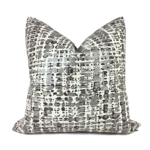 Metallic Silver Gray Cream Paint Splatter Abstract Pillow Cover