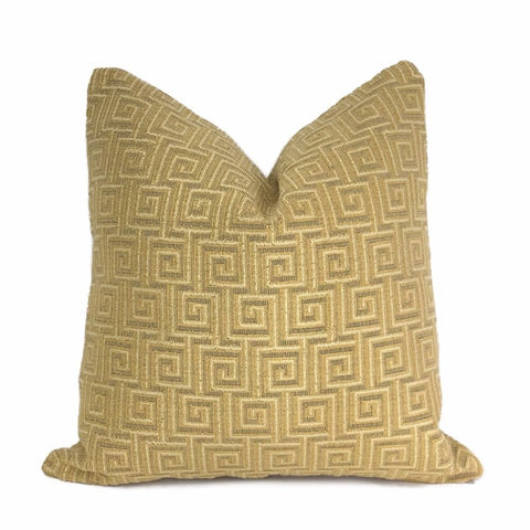 Midas Gold Greek Key Velvet Pillow Cover - Aloriam
