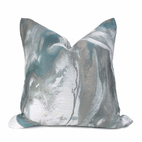 Miravel Aqua Green & Gray Abstract Pillow Cover - Aloriam