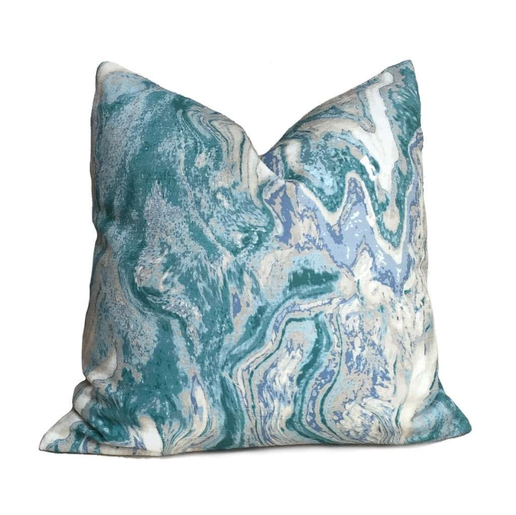 Modern Abstract Geology Green Gray Cream Pillow Cover by Aloriam