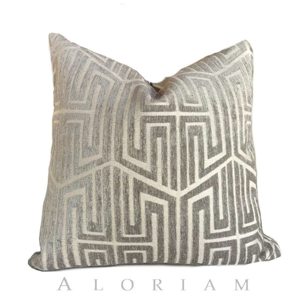 Designer Modern Asian Geometric Fretwork Taupe Gray Beige Pillow Cushion Cover