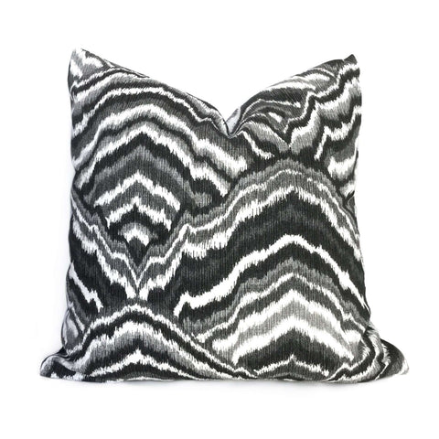 Modern Black Gray White Agate Abstract Wave Pattern Pillow Cover