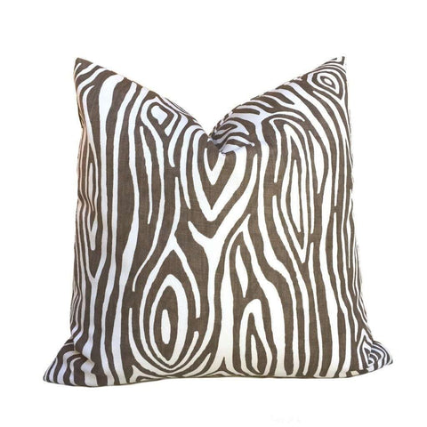 Modern Faux Bois Brown White Wood Grain Print Pillow Cushion Cover Cushion Pillow Case Euro Sham 16x16 18x18 20x20 22x22 24x24 26x26 28x28 Lumbar Pillow 12x18 12x20 12x24 14x20 16x26 by Aloriam