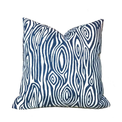 Modern Faux Bois Navy Blue White Wood Grain Print Pillow Cushion Cover Cushion Pillow Case Euro Sham 16x16 18x18 20x20 22x22 24x24 26x26 28x28 Lumbar Pillow 12x18 12x20 12x24 14x20 16x26 by Aloriam
