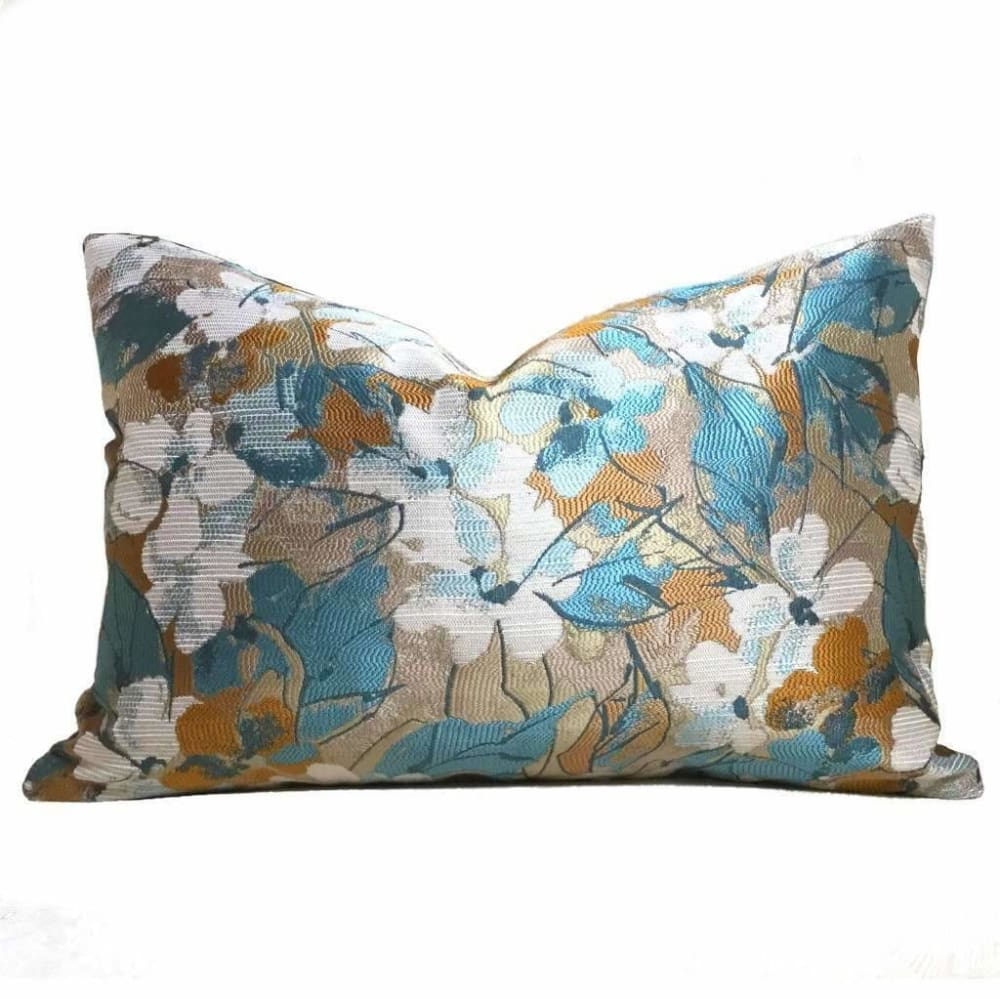 Modern Floral Teal Taupe Ochre off-White Pillow Cover - Aloriam