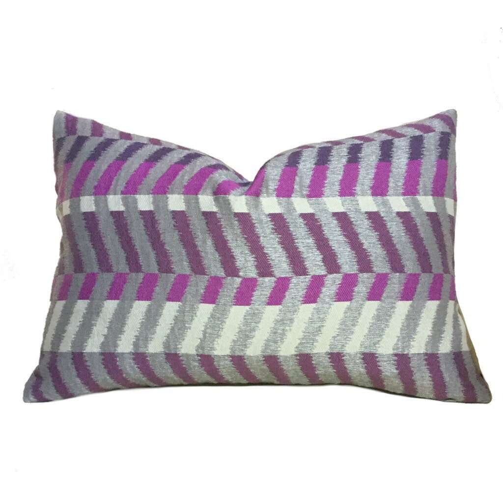 Modern Geometric Gray Purple Colorblock Chevron Zig Zag Pillow Cushion Zipper Cover