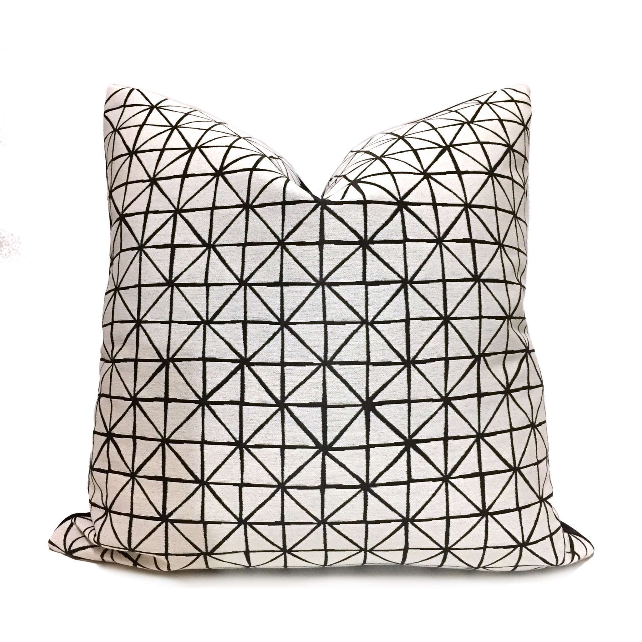 Modern Geometric Grid Black Off-White Pillow Cover by Aloriam