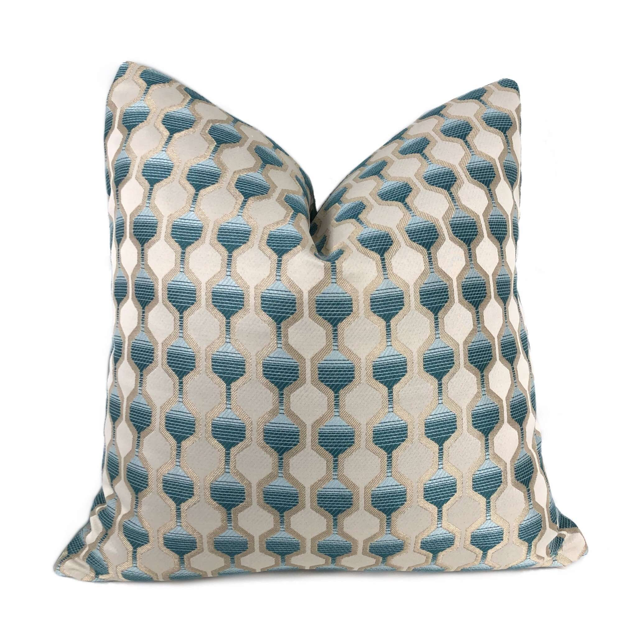 Modern Geometric Hexagon Aqua Blue Green Silver Pillow Cushion Cover Cushion Pillow Case Euro Sham 16x16 18x18 20x20 22x22 24x24 26x26 28x28 Lumbar Pillow 12x18 12x20 12x24 14x20 16x26 by Aloriam