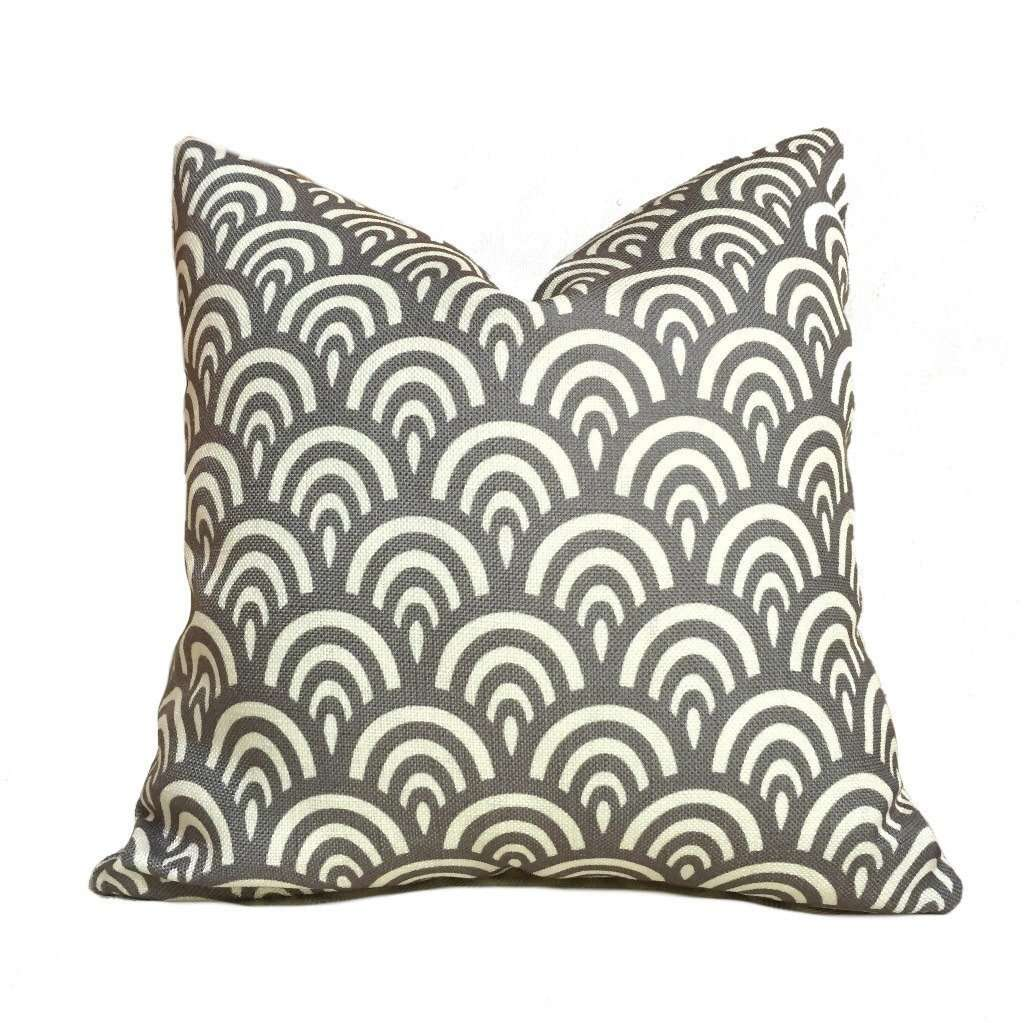 Modern Gray Ivory Cream Scallop Geometric Pattern Pillow Cover