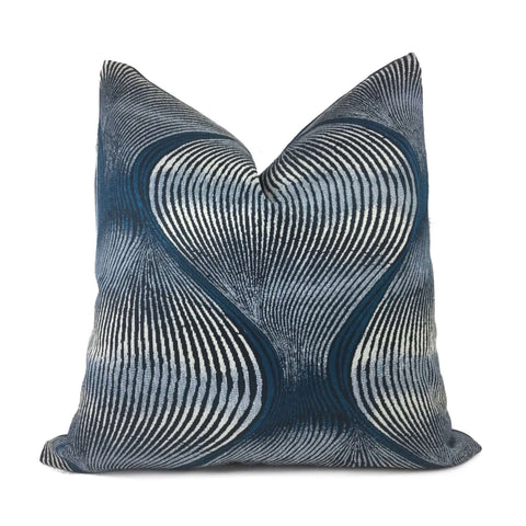 Modern Ogee Swirl Blue Teal Gray Pillow Cover Cushion Pillow Case Euro Sham 16x16 18x18 20x20 22x22 24x24 26x26 28x28 Lumbar Pillow 12x18 12x20 12x24 14x20 16x26 by Aloriam