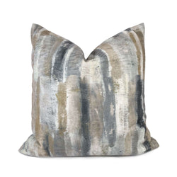 Modern Painterly Stripes Taupe Gray Neutral Digital Print Pillow Cover