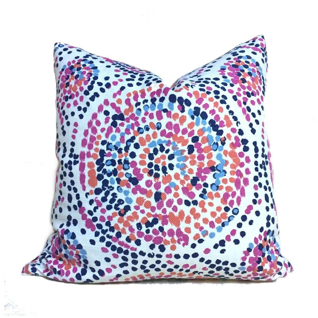 Duralee Glimpse Berry Modern Designer Pointillist Mosaic Medallion Blue Pink Orange White Pillow Cover by Aloriam