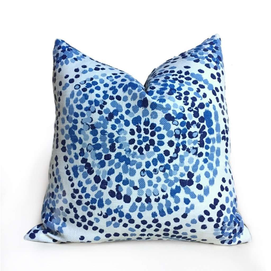 Duralee Glimpse Designer Modern Pointillist Mosaic Medallion Lapis Blue White Pillow Cover by Aloriam