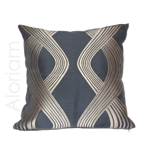 Modern Twisting Ribbon Bronze Charcoal Pillow by Aloriam