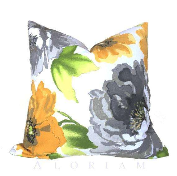 Modern Yellow Gray Green White Floral Flower Throw Pillow Cushion Cover Cushion Pillow Case Euro Sham 16x16 18x18 20x20 22x22 24x24 26x26 28x28 Lumbar Pillow 12x18 12x20 12x24 14x20 16x26 by Aloriam