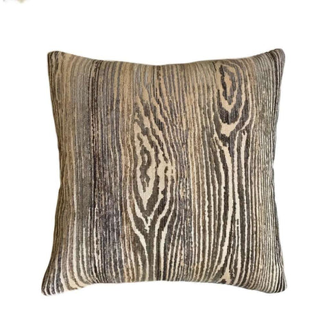 Muir Woods Faux Bois Wood Grain Pattern Texture Chenille Velvet Chocolate Brown Pillow Cover